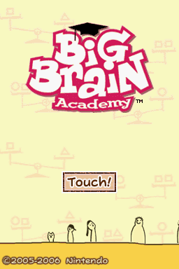Big Brain Academy Nintendo DS The title screen.