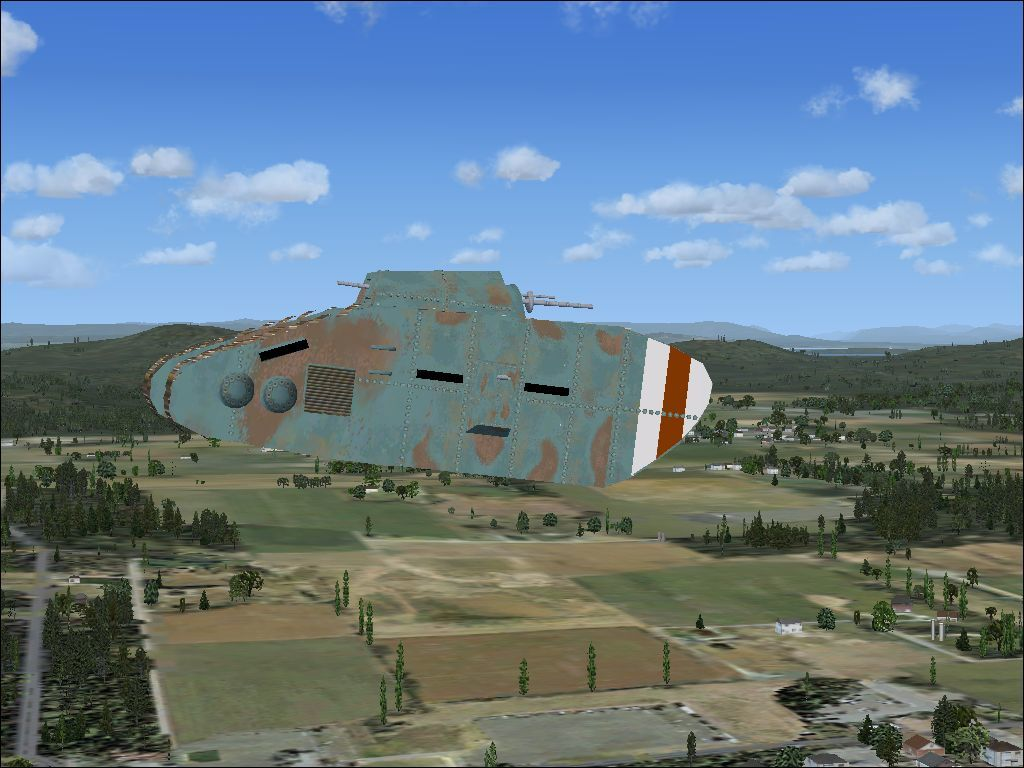Mission: WWI Dogfight Windows Because the WW1 tanks appear in Flight Simulator X's aircraft library they can be flown like any other aircraft. Here a tank has been substituted for a microlight
