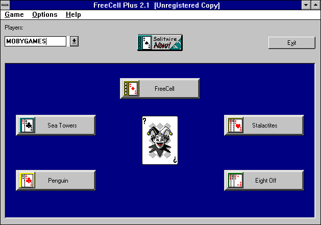 FreeCell Plus Windows 3.x Main Menu (version 2.1)