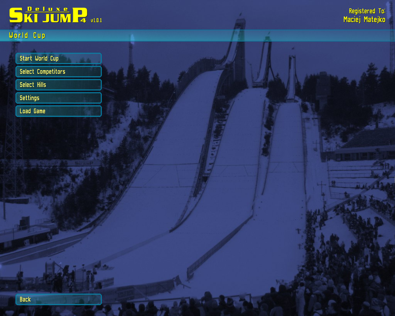Deluxe Ski Jump 4 Windows World Cup menu