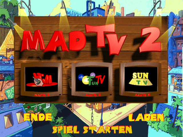 Mad TV 2 DOS Game main menu. I think the game makes you choose between different types of TV channels to manage.