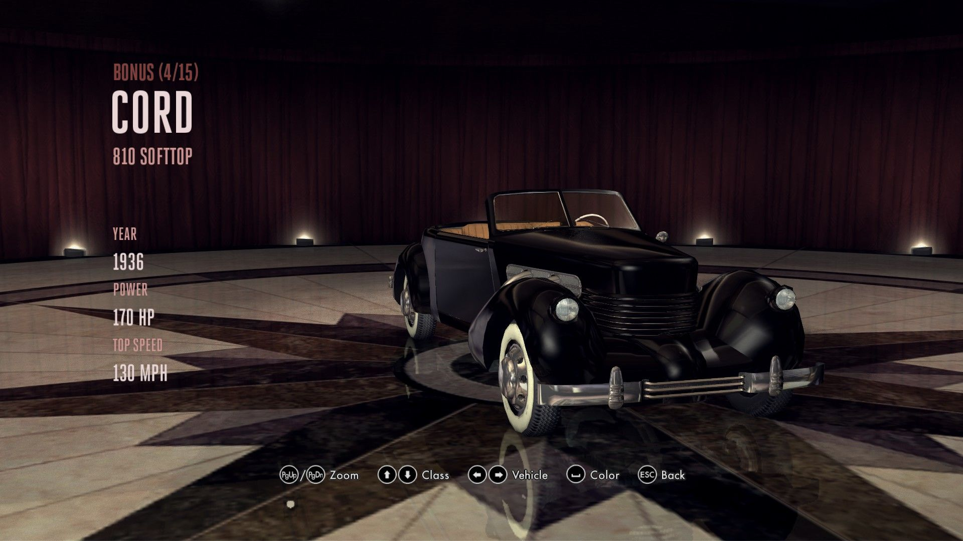 L.A. Noire: The Complete Edition Windows Unlocked vehicle in the showroom