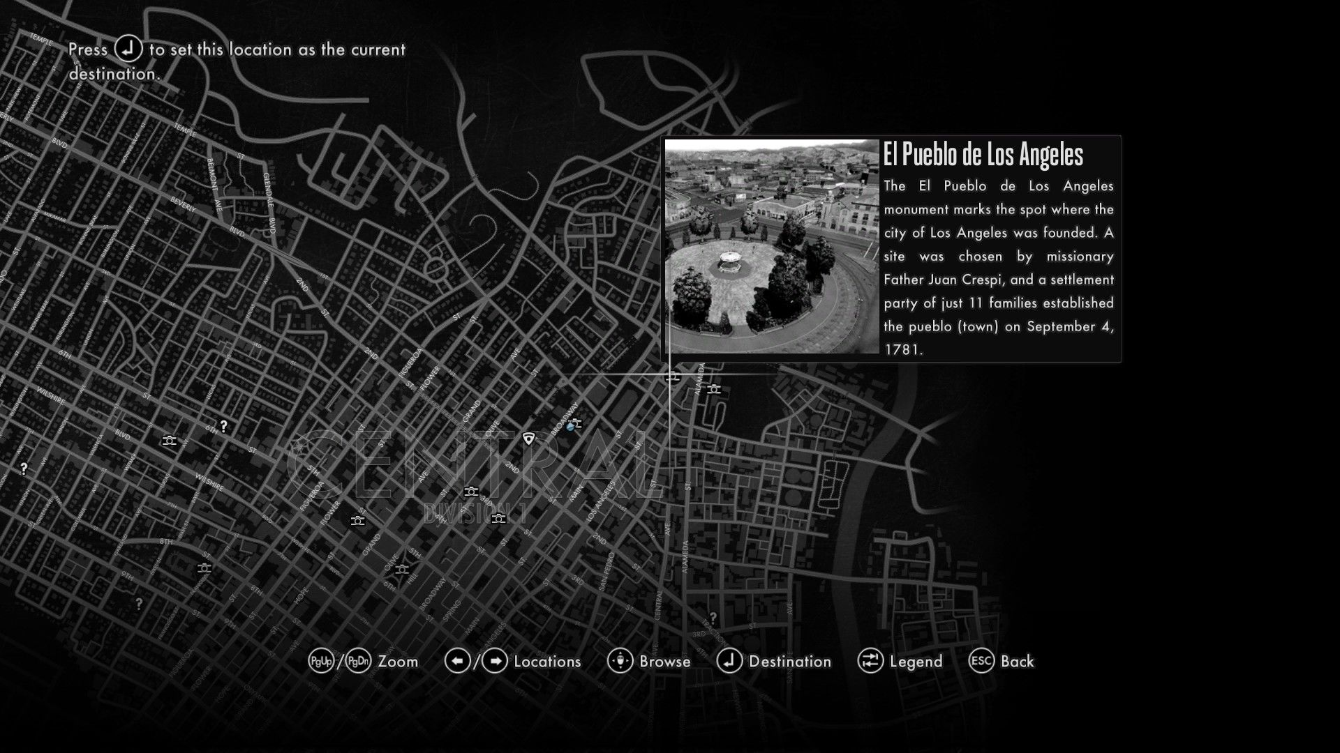 L.A. Noire: The Complete Edition Windows Discovered landmarks are briefly introduced on the in-game map.