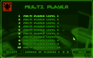 Syndicate: American Revolt DOS Extremely basic multiplayer setup menu.