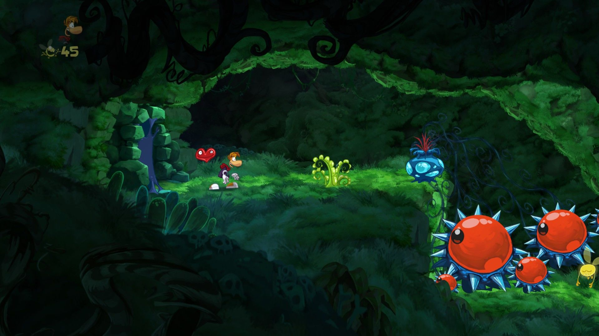 Rayman Origins Windows Do not step on the red-eyed spiky bushes...