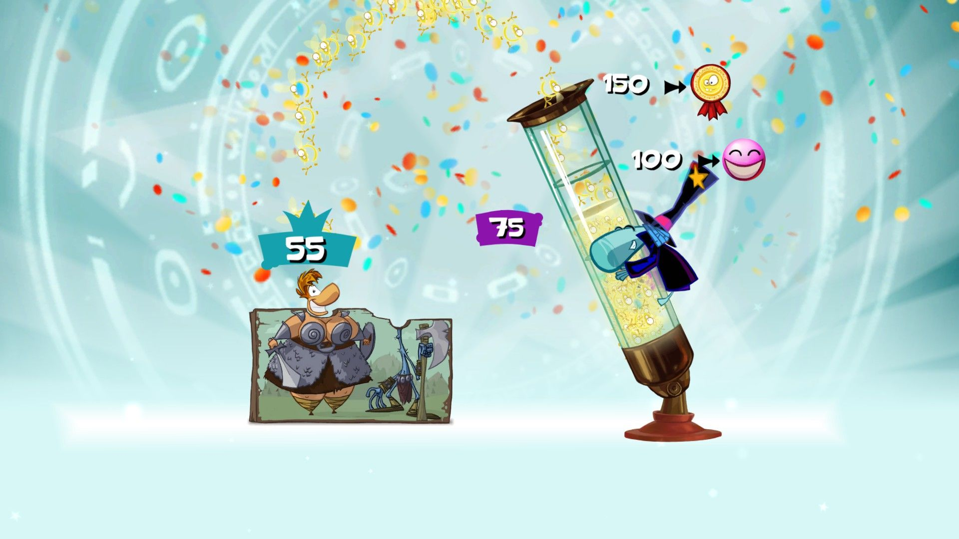 Rayman Origins Windows At the end of a level, you can unlock more Electoons depending on how many Lums you collected.