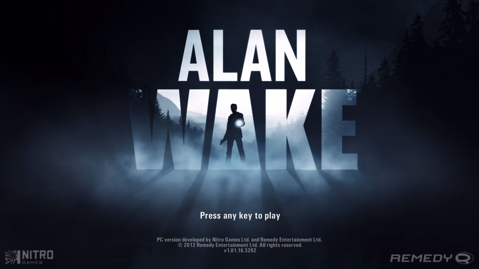 Alan Wake Windows Title screen