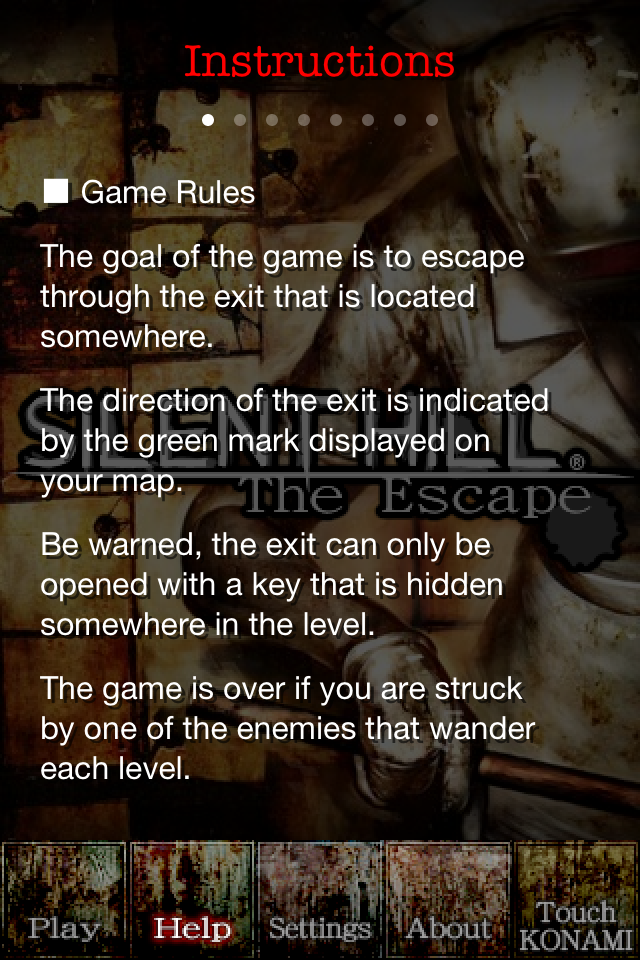 Silent Hill: The Escape iPhone The objective and rules of the game are shown.