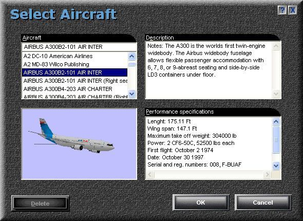 Airbus 2000: Special Edition Windows The aircraft selection screen in Microsoft Flight Simulator 98. Note that there are options to fly on the left, default, or on the right