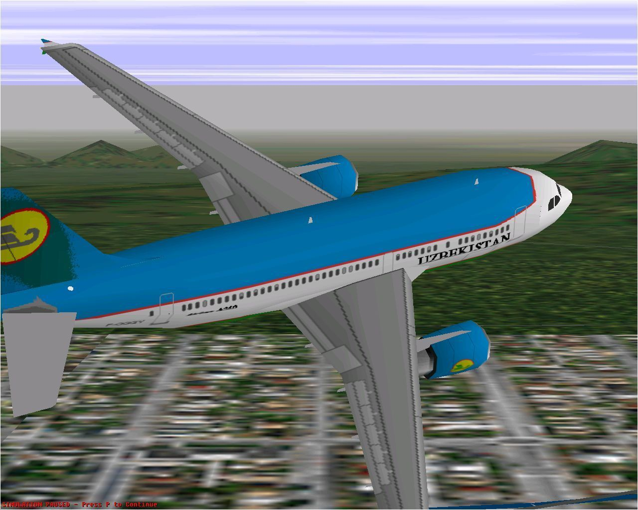 Airbus 2000: Special Edition Windows Uzbekistan's Airbus A310-324 flying in Microsoft Flight Simulator 98