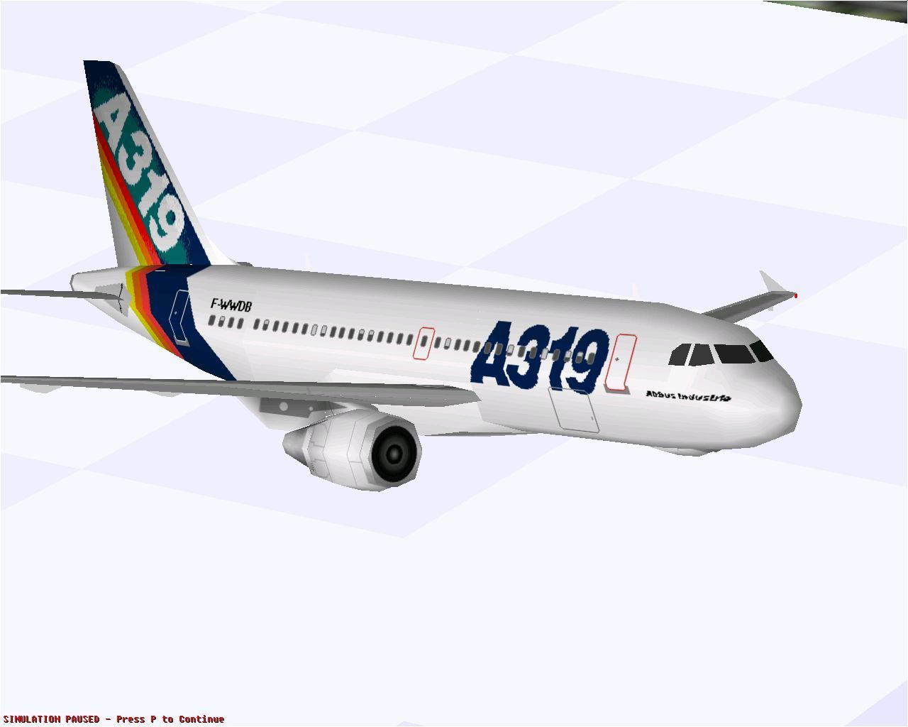 Airbus 2000: Special Edition Windows Airbus Industrie A319-112 in Microsoft Flight Simulator 98.