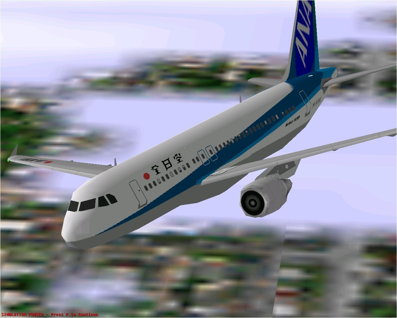 Airbus 2000: Special Edition Windows The Airbus A320-211 in Microsoft Flight Simulator 98 flying in All Nippon Airways livery