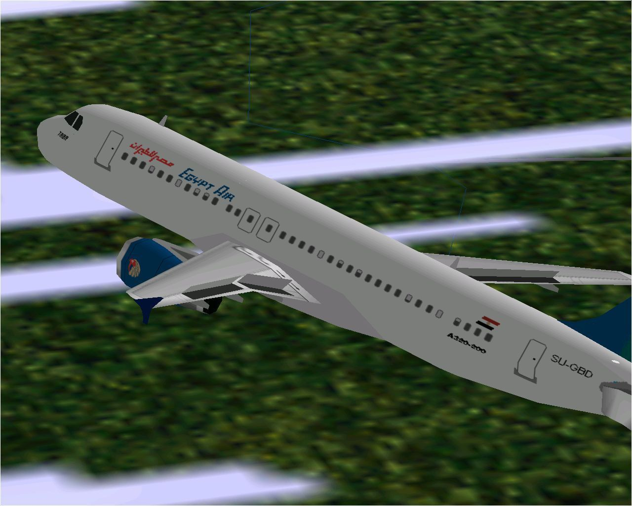 Airbus 2000: Special Edition Windows The Airbus A320-231 in Microsoft Flight Simulator 98 flying in Egyptair livery with flaps deployed
