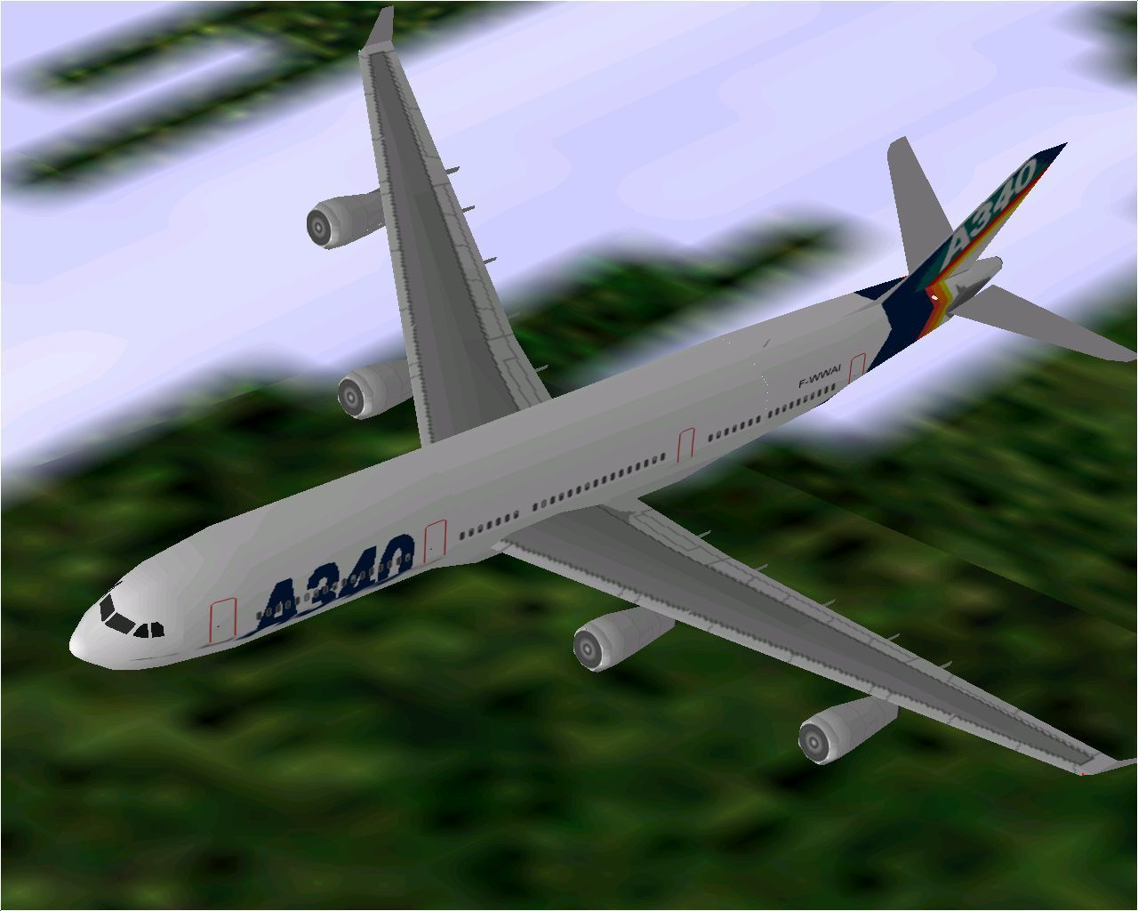Airbus 2000: Special Edition Windows Airbus Industrie's A340-300 in Microsoft Flight Simulator 98. This is another aircraft that's calibrated without payload