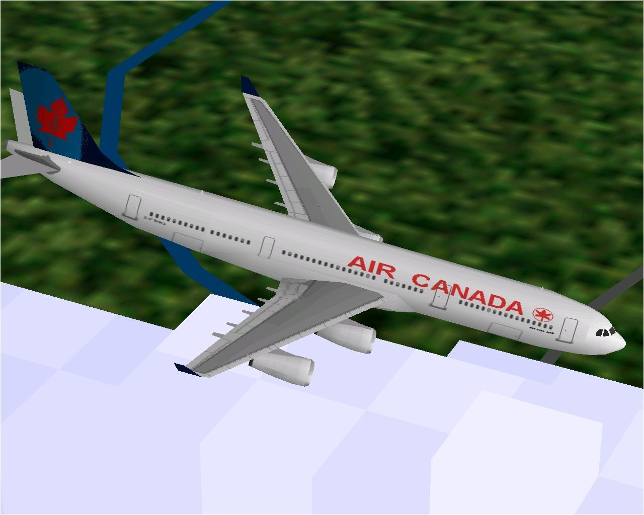 Airbus 2000: Special Edition Windows Air Canada's Airbus A340-313 flying in Microsoft Flight Simulator 98