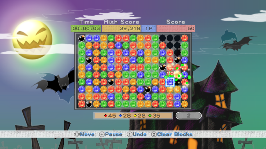 Pop 'Em Drop 'Em Samegame Wii We can change the background and block graphics. Here a Halloween theme