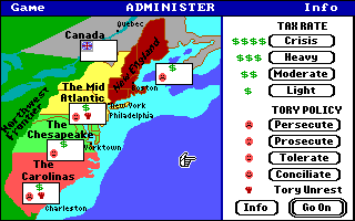 Revolution '76 DOS Map of the colonies - tax and loyalists info