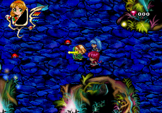 Magic Knight Rayearth SEGA Saturn Fuu shoots tiny bugs in the mysterious forest. One thing is sure: the game's graphics are beautiful