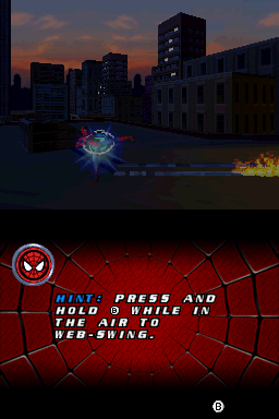 Spider-Man 2 Nintendo DS Hints and tutorial messages are scattered around the first chapter.