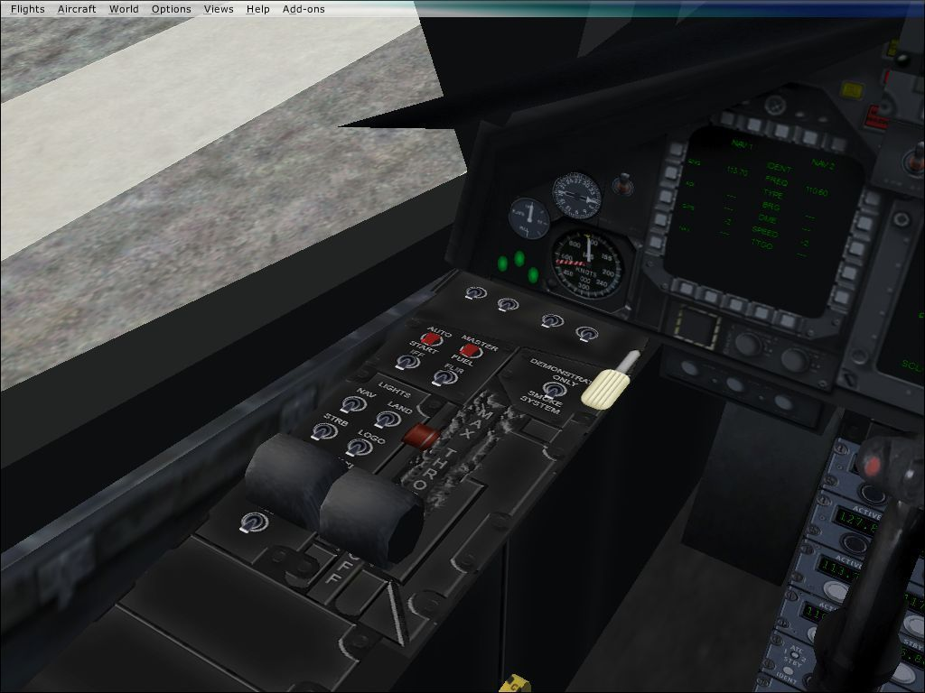 International Fighters Windows Flight Simulator X: This is part of the F-117 Nighthawk's virtual cockpit