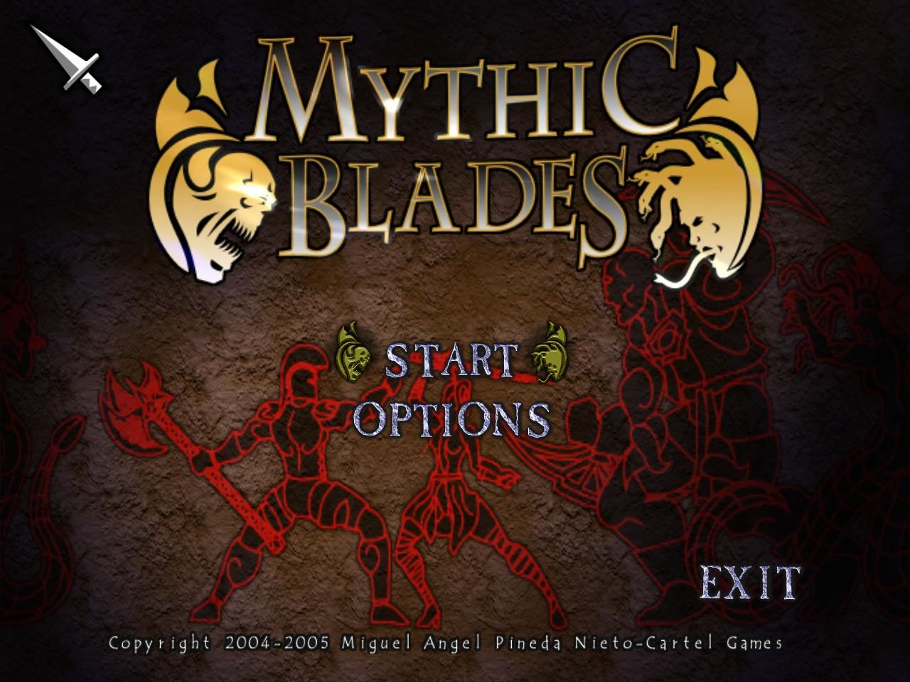 Mythic Blades Windows Main menu (demo version)