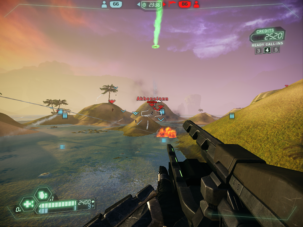 Tribes: Ascend Windows Playing as the Juggernaut for massive damage (Team Deathmatch).