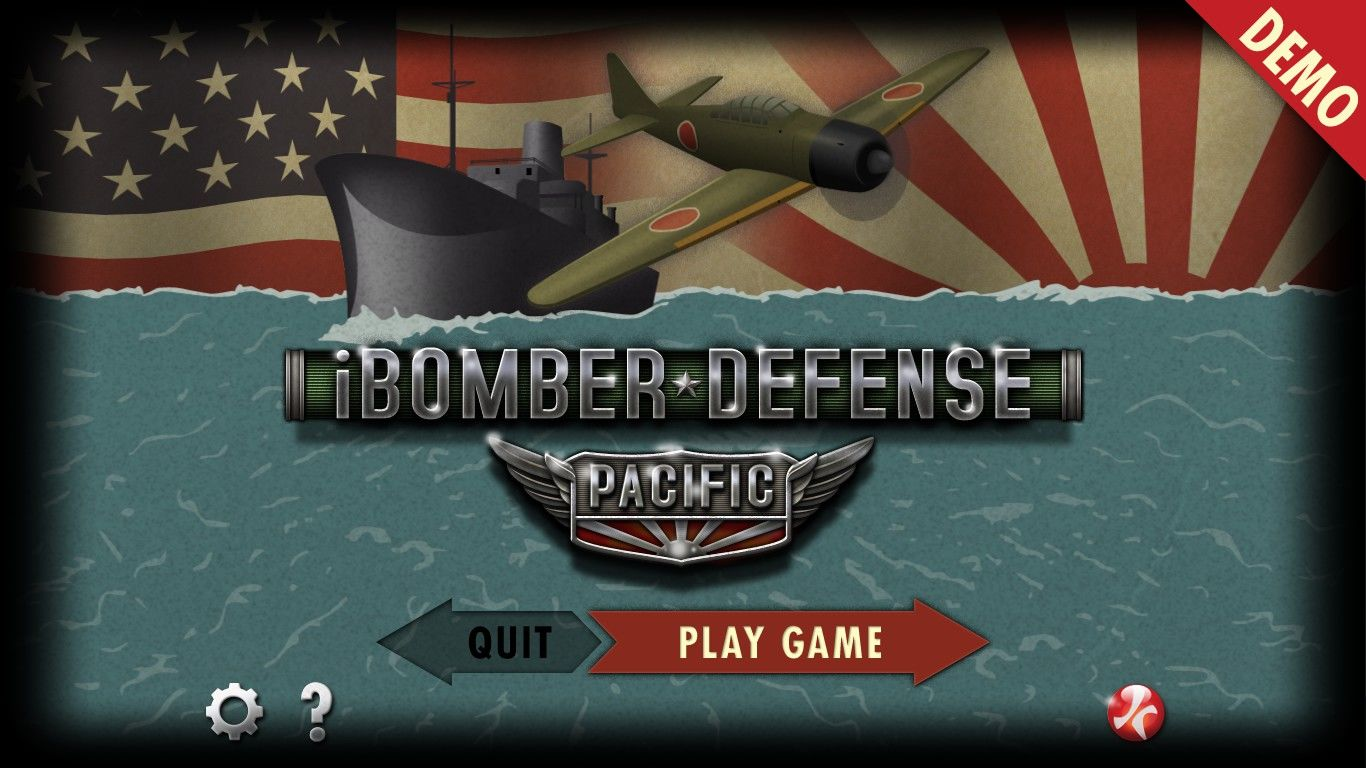 iBomber Defense: Pacific Windows Main menu (demo version)