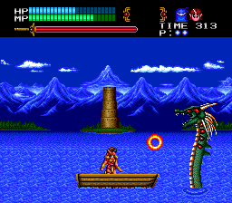 Valis III TurboGrafx CD Cham is taking on a fire-spitting sea serpent
