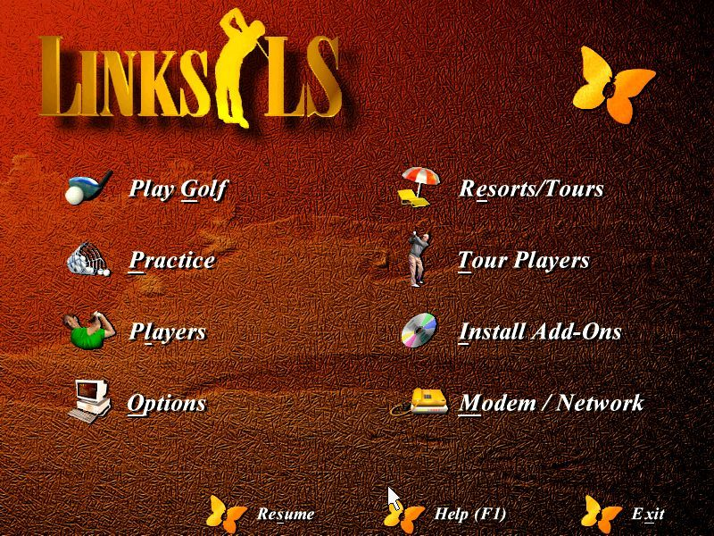 Links LS: Legends in Sports - 1997 Edition DOS The main menu