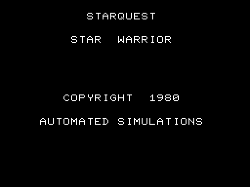 StarQuest: Star Warrior TRS-80 Title