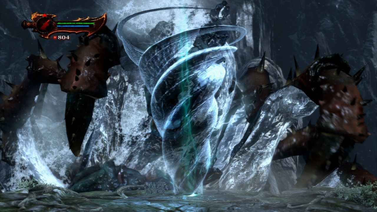 God of War III PlayStation 3 Using a special whirlwind magic attack against an unknown monster which emerged from the sea.