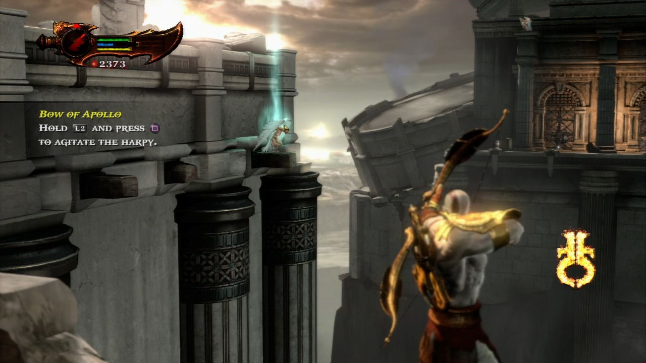 God of War III PlayStation 3 Use your bow to agitate harpies which can carry you across the chasms.