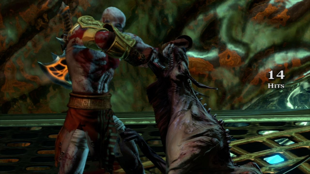 God of War III PlayStation 3 Hell hound is trying to chew more than it can handle.