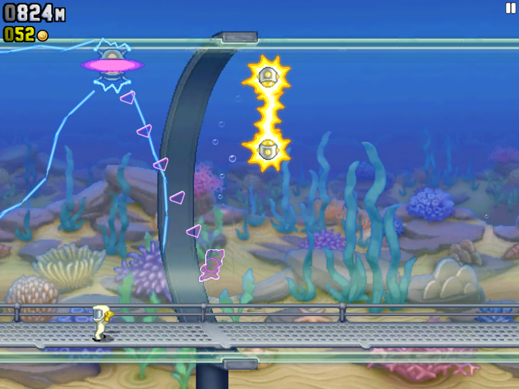 Jetpack Joyride iPad Beautiful aquarium stage. Barry navigates a very weird-looking teleporter
