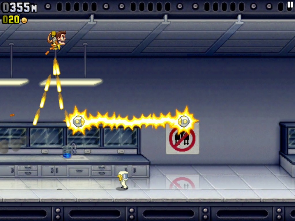 Jetpack Joyride iPad Flying through a lab