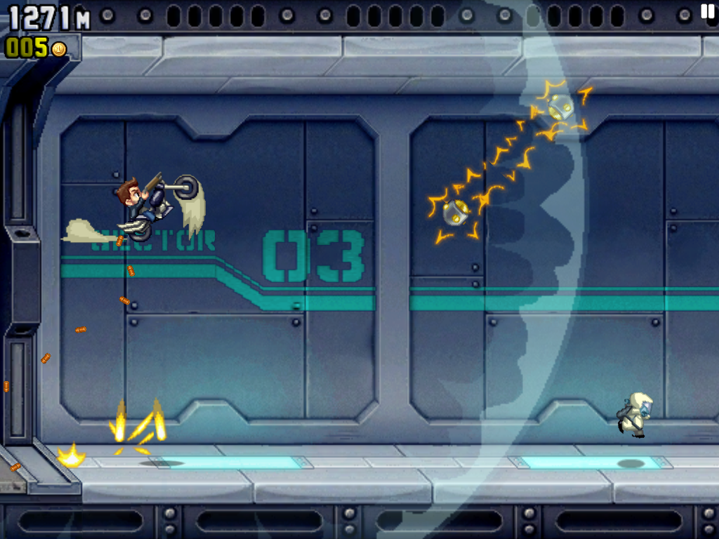 Jetpack Joyride iPad Vrrrum!! The zapper explodes!