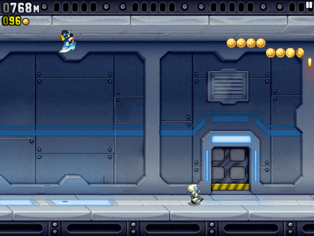 Jetpack Joyride iPad Barry in a gravity suit, upside-down