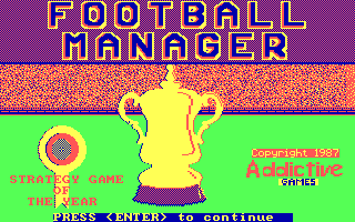 Football Manager DOS Loading Screen.