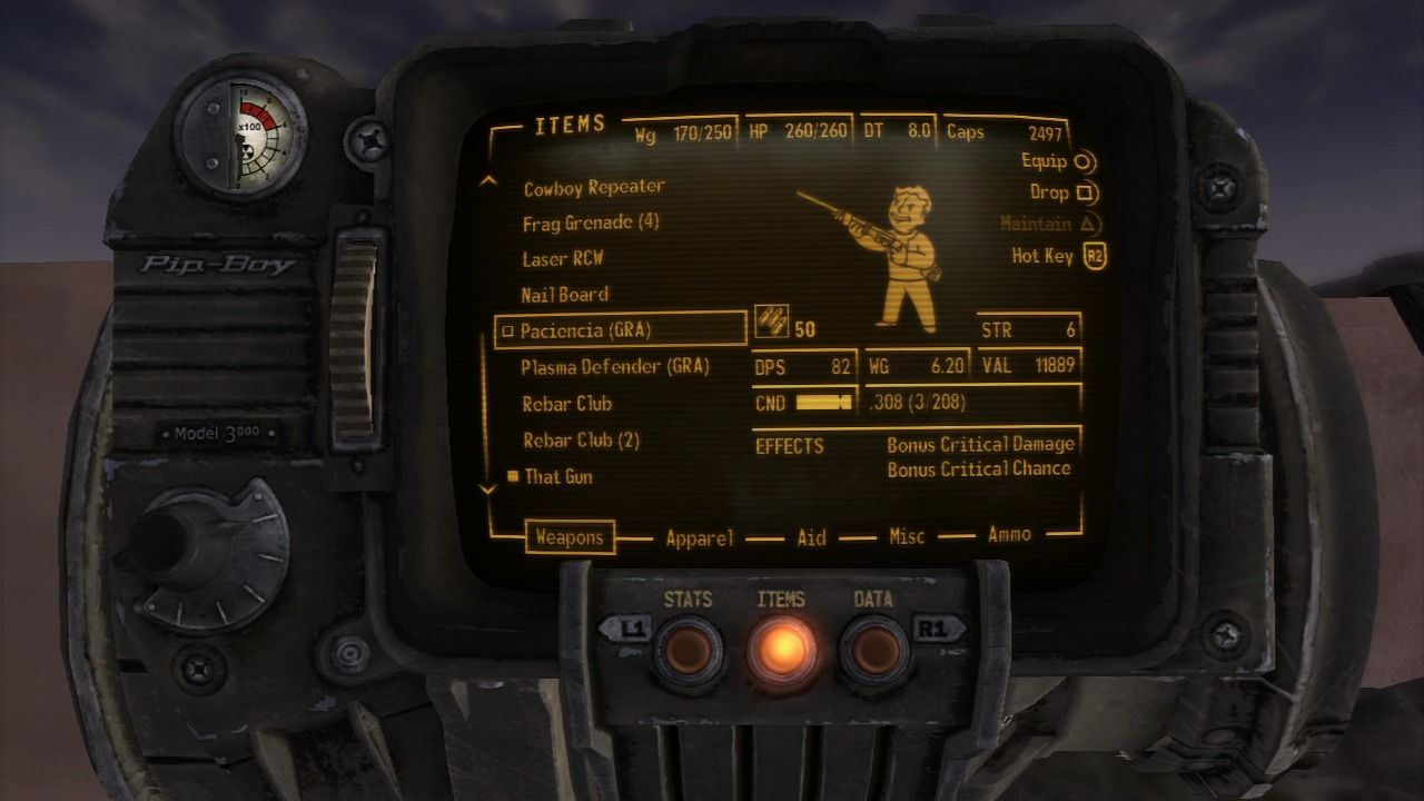 Fallout: New Vegas - Gun Runners' Arsenal PlayStation 3 Paciencia is a deadly rifle that seriously upgrades your chance for a critical hit and it can zoom in as well as the best sniper without actually having a scope.