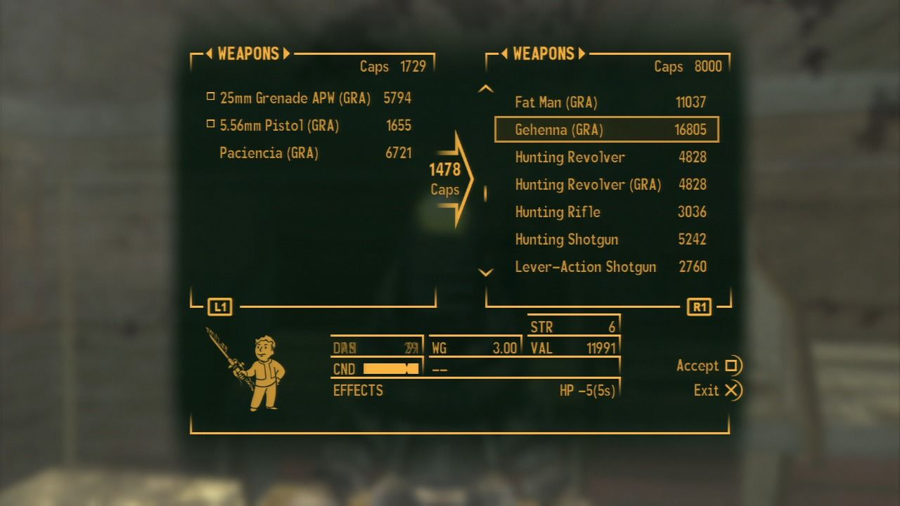Fallout: New Vegas - Gun Runners' Arsenal PlayStation 3 Gun Runners' Arsenal weapons are quite expensive, but most of them aren't worth the price.