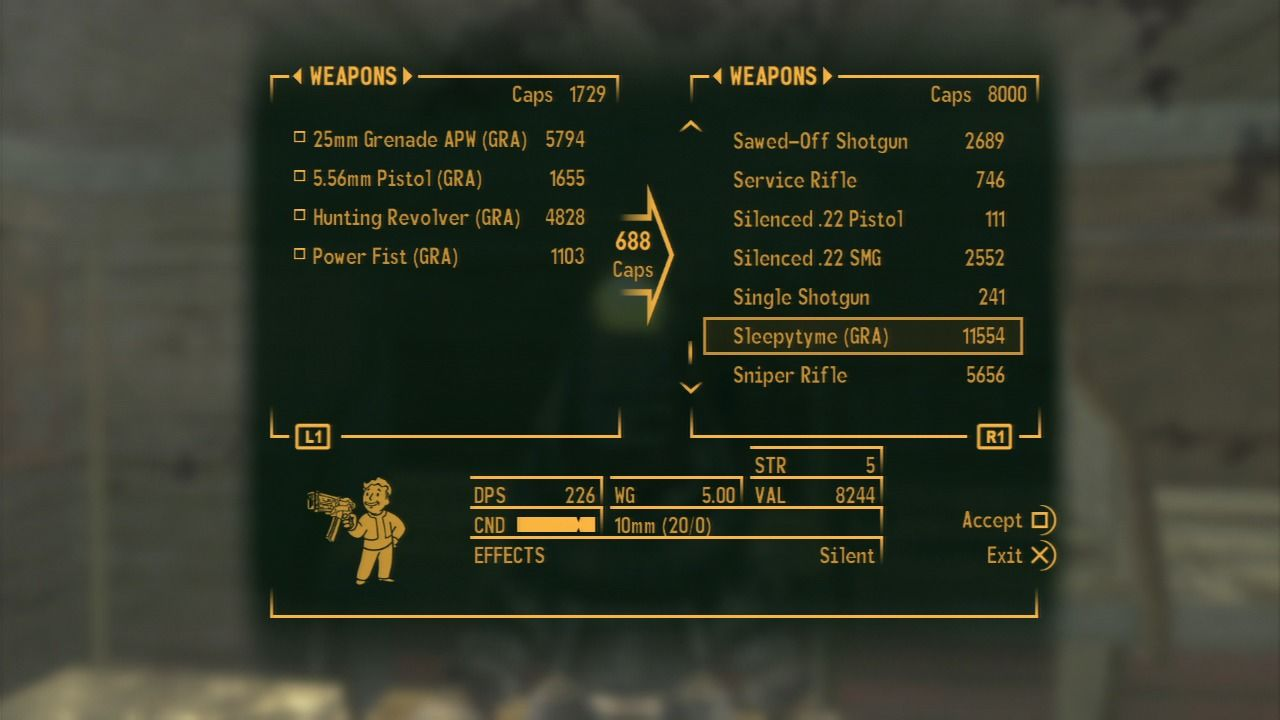Fallout: New Vegas - Gun Runners' Arsenal PlayStation 3 While some weapons may resemble existing weapons, you may not be able to upgrade them with regular parts.