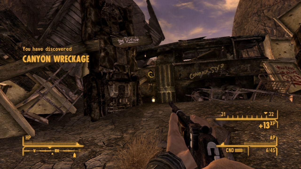 Fallout: New Vegas - Lonesome Road PlayStation 3 Approaching canyon wreckage point where you can enter The Divide.