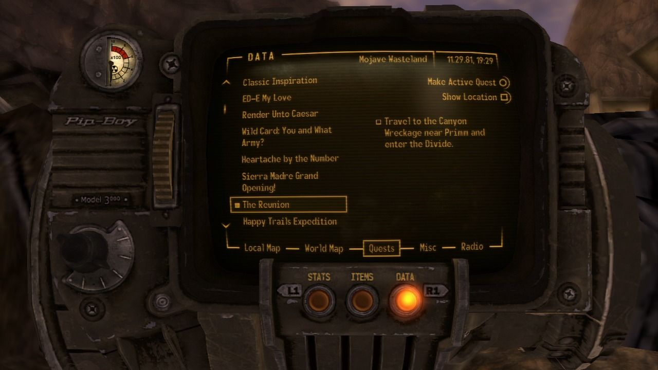 Fallout: New Vegas - Lonesome Road PlayStation 3 DLC mission will appear on your Pip-boy 3000.