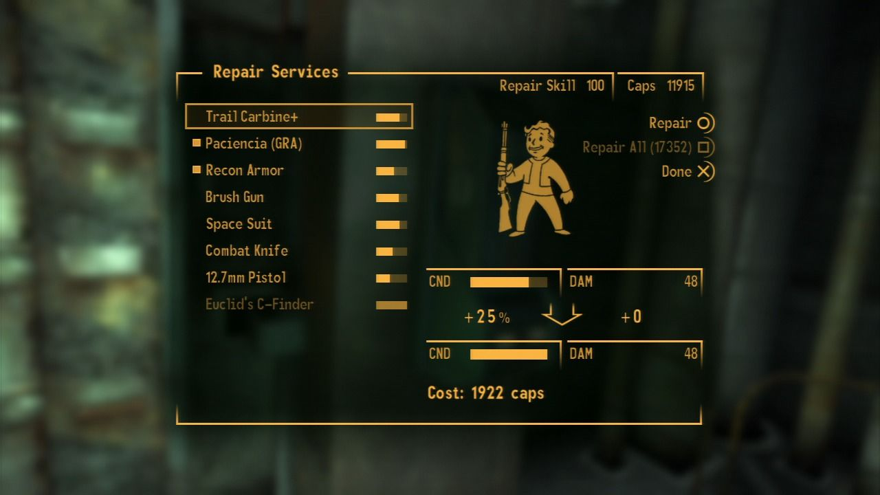 Fallout: New Vegas - Lonesome Road PlayStation 3 Commissaries let you repair your weapons to the fullest.