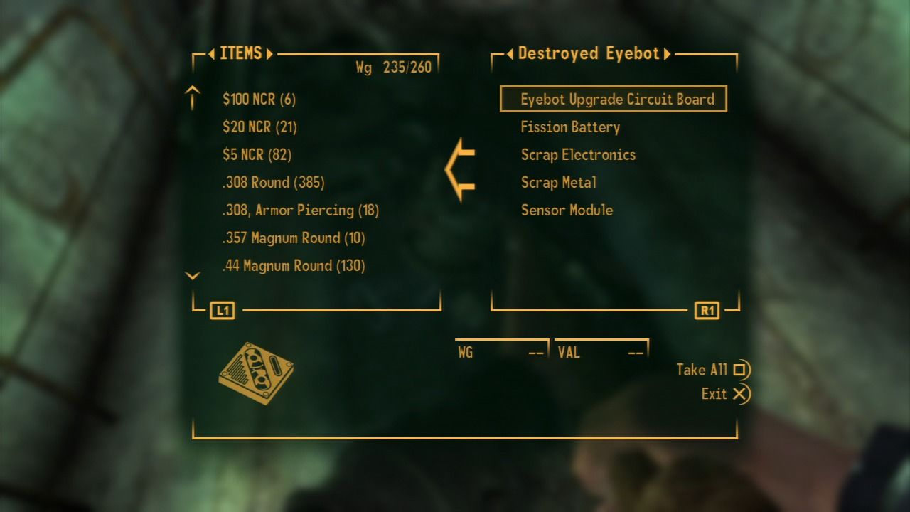 Fallout: New Vegas - Lonesome Road PlayStation 3 Scavenge eyebots in order to upgrade ED-E's skills which will pass on to the Mojave map after you finish this mission.