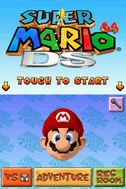 Super Mario 64 DS Nintendo DS The title screen.