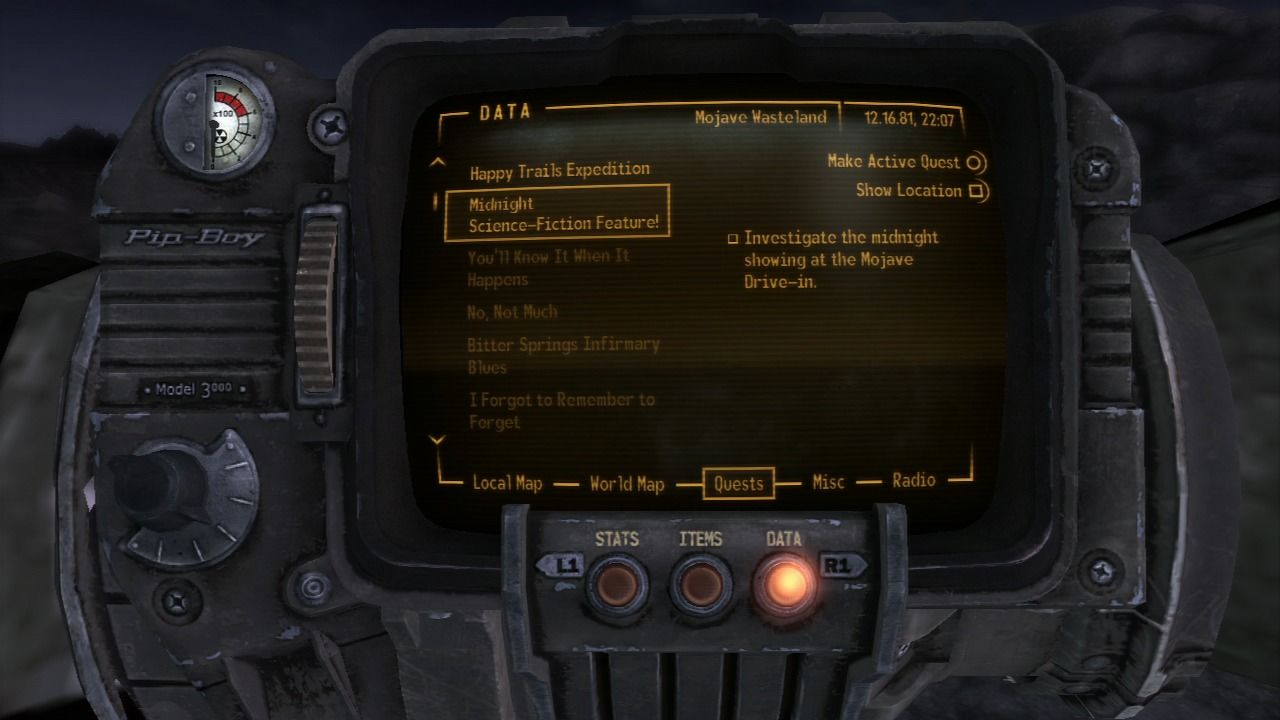 Fallout: New Vegas - Old World Blues PlayStation 3 This mission, when installed, will appear on your Pip-Boy 3000.