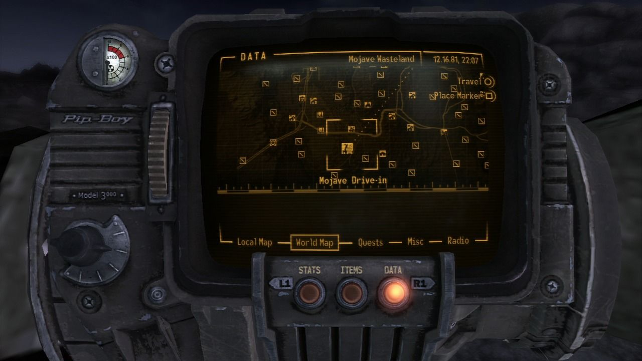 Fallout: New Vegas - Old World Blues PlayStation 3 Mission location on the FNV map.