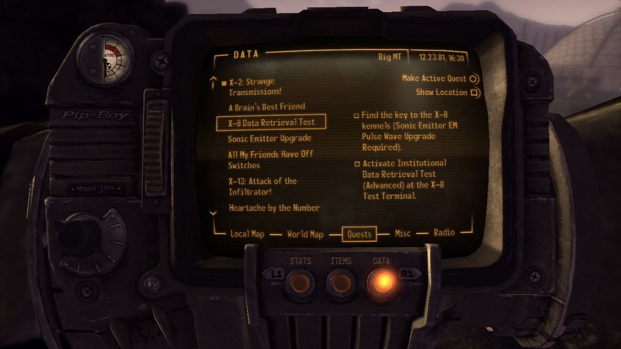 Fallout: New Vegas - Old World Blues PlayStation 3 There'll be all sort of side-quests for you to do here if you've got time and patience.