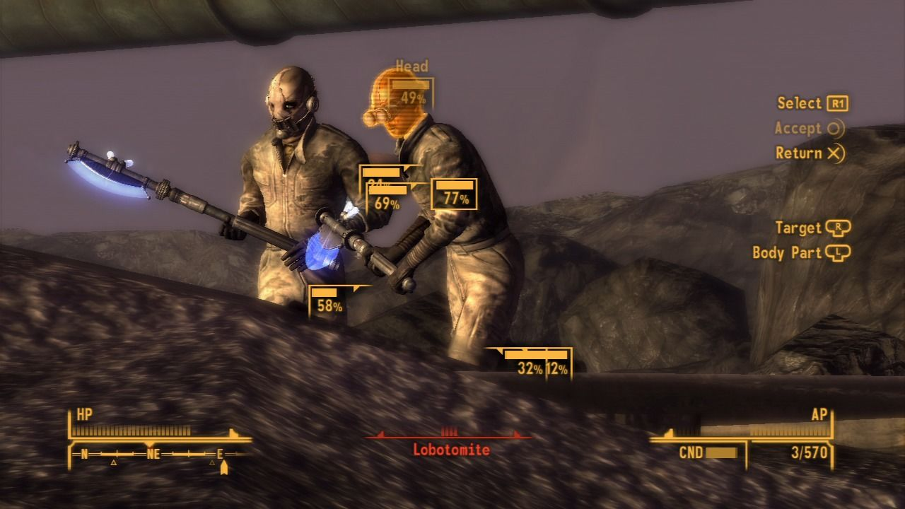 Fallout: New Vegas - Old World Blues PlayStation 3 Aiming at two lobotomites in V.A.T.S. mode.